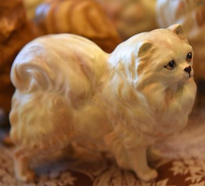 Old Vintage White Persian Cat Figurine Japan Original Sticker White Numbered
