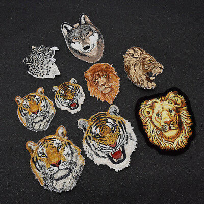 Wildlife Patch Embroidered Applique DIY Leopard Wolf Lion Tiger New Sewing Craft