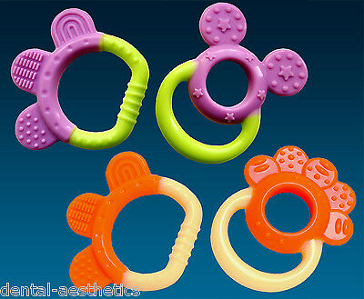 Baby's First Teether Set ~ Orange or Purple Teething Ring Chew Boys & Girls Gift