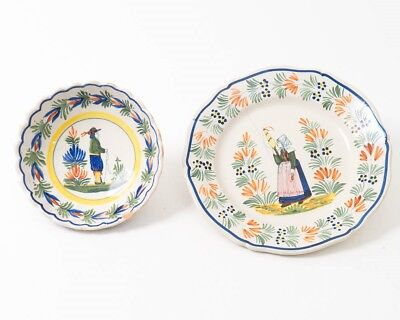 2 Damaged Henriot Quimper Hand Painted French Ceramics Plate & Bowl