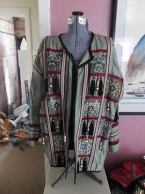 I. Magnin 100% Silk Woman's Lg. Green Bohemian Tapestry Jacket, Beads, Tassels
