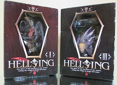 NIB Hellsing I Arucard and Hellsing III Anderson Relief Collectible Figurines