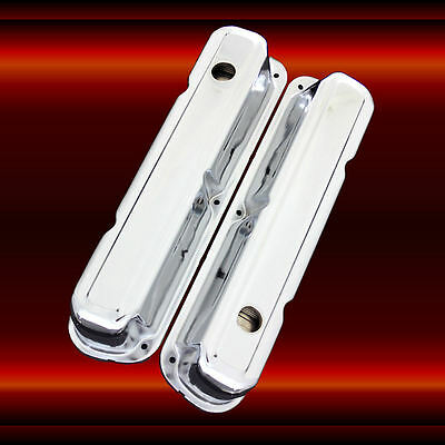 Chrome SBC Valve Covers For 383 Stroker Small Block Chevy Factory Height