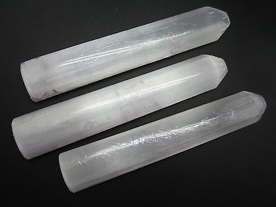 """SELENITE WAND Oval Lot of 3 Polished 6"""" in Morocco 302g"""