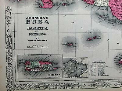 Cuba Jamaica Puerto Rico Caribbean Bahamas c.1864 Johnson fine antique color map