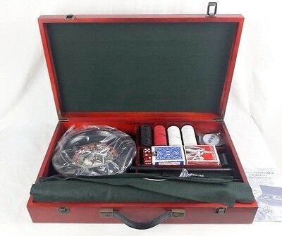 6-in-1 Portable Wooden Casino Roulette wheel Cards RBM Collection 2040-SKS B442