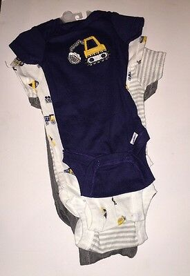 Gerber Baby Boy 4 Pack TRUCKS Stripes Onesies 0-3 months NEW