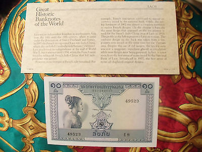 Great Historic Banknotes Laos 10 Kip 1962 P 10b UNC Serie E.8