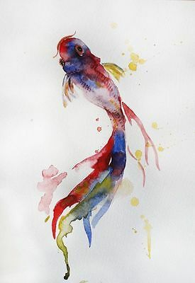 Modern Abstract Beautiful Fish Art Watercolour Canvas Painting wall choose size