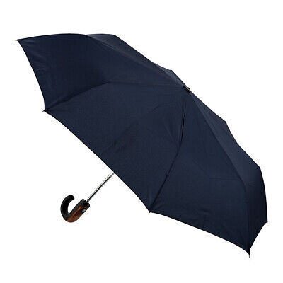 Men's Automatic Folding Umbrella Wood Trim Handle Navy