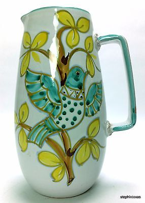 Vintage ITALIAN Ceramic Glazed White Pitcher Bird in Tree Made in Italy 9012