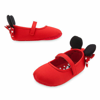 Disney Store Minnie Mouse Red Baby Costume Shoes w/ 3D Ears 0 6 12 18 24 Months