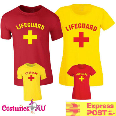 Mens Womens Beach Lifeguard Costume 80s Red Yellow Uniform T-shirt 1980s Tshirt