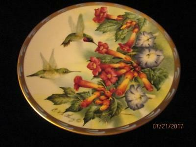 """LENOX 1994 Catherine McClung """"Jeweled Glory"""" Natures Collage 8"""" Hummngbird Plate"""