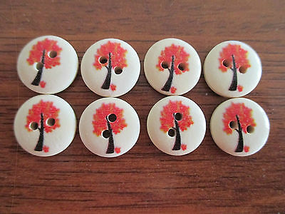 8 x 15mm Natural Wooden Buttons Red Trees Design 2 Holes - No. 710