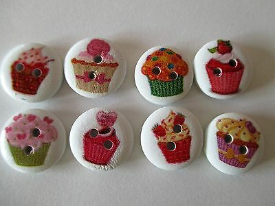 8 x 15mm  Wooden Buttons all different CUPCAKES Sewing or Scrapbooking No.820
