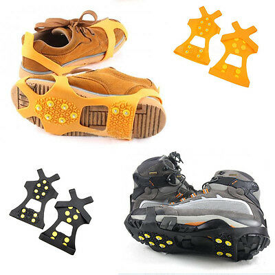 2pcs Ice Snow Shoe Spikes Grips Crampons Cleats Hiking Climbing Anti-skid