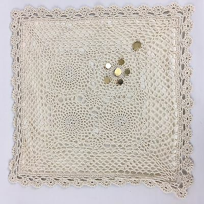 Shabby Hand Made Embroidery Cushion Cover with Buttons and Zipper