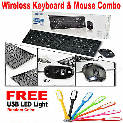 Slim Black 2.4GHz Wireless Keyboard and Mouse Combo Set For Desktop PC Computer