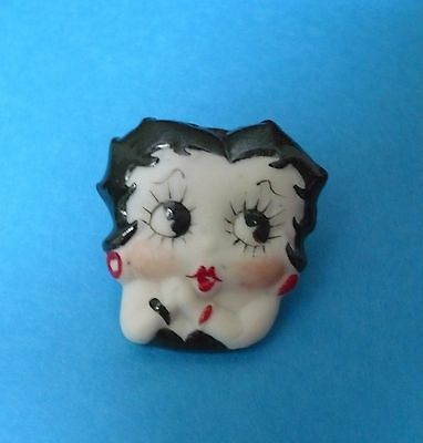 Betty Boop lapel pin, hat pin, tie pin classic pose head shot porcelain,  1 1/4""