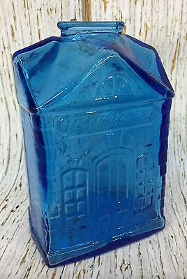 Wheaton N. J 1st National Bank Blue Glass Coin Bank Collectible
