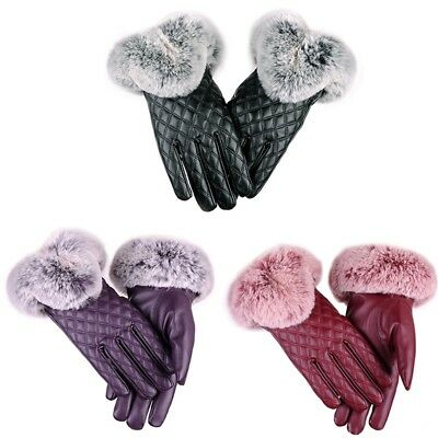 Women's Winter Warm Leather Click Phone Touch Screen Thickened Gloves Outdoor