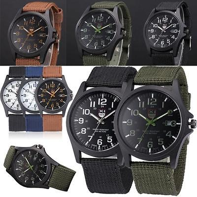 Mens Military Sports Watch Date Stainless Steel Analog Army Quartz Wrist Watches