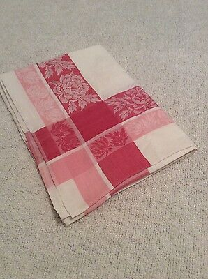 Lovely Vintage Damask Cotton Pink White Rose Shabby Chic Tablecloth Retro Fabric