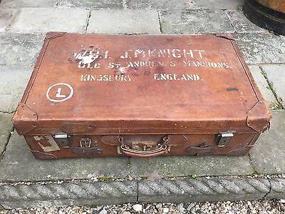Ww11 Military Leather  Named Trunk / Case - Retro, Antique, Vintage