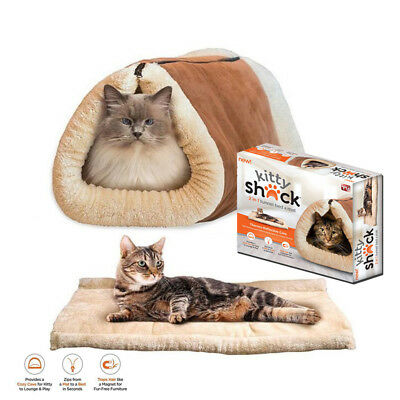 New Kitty Shack 2 In 1 Pet Self Heating Tunnel Bed Cat Dog Portable Warm Hot Mat