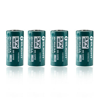 Olight RCR123A 16340 Lithium-ion Rechargeable Battery 650 mAh 3.7V 2.4Wh 2 pcs