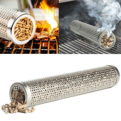 "12"" BBQ Smoker Tube Generator Wood Pellet Grill Cold Smoke Mesh Stainless Steel"