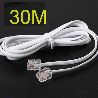 High Speed 30m 90feet RJ11 Telephone Phone ADSL Modem Line Cord Cable white