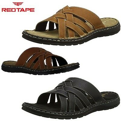 Mens RED TAPE Bay Leather Slip On Open Toe Mules Summer Beach Sandals Sz 7-12
