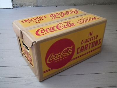 Vintage 1940's Coca-Cola waxed cardboard case for 4 six bottle cartons - NOS