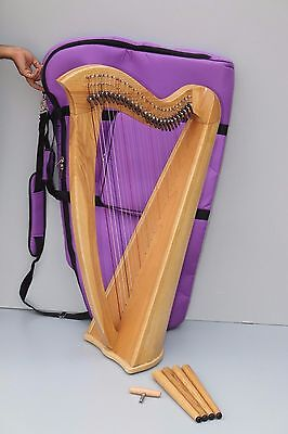 Mikel Saffron 27, 27 Strings Lever Harp with Carry bag and Detachable Legs