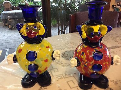 Art Glass Clown Candle Holders