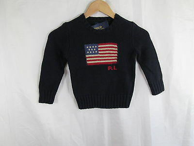 Polo by Ralph Lauren Navy Flag Crew Neck Pullover Sweater  NWT Sz 4/4T $75