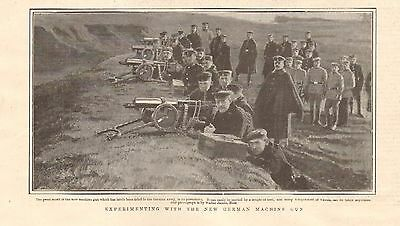 1901 Antique Print - Experiments With The New German Machine Gun