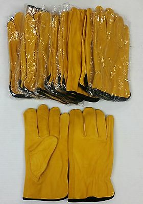 12 Pair - Goat Skin Leather Driving, Work  (PPE) - Goatskin Drivers Gloves, Gold