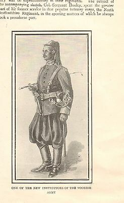 1901 Antique Print - Lent To The Moors-British Army Instructors
