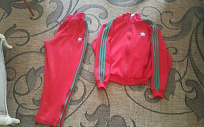 1990s Vintage Adidas Red and green Track Suit Full Zip Jogging Size XL