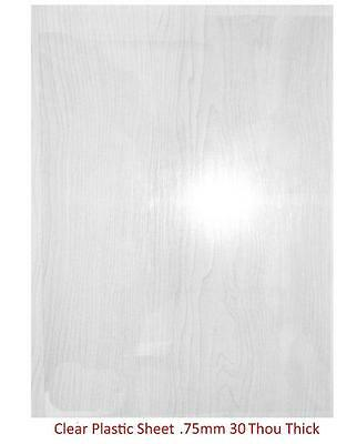 Plasticard - 0.75mm (30 Thou) Clear Plastic Sheet (Approx. A4 Size)