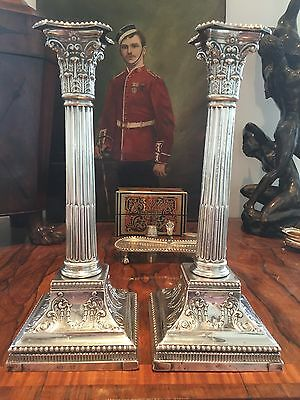 "Sterling Silver, Victorian, 11"" Corinthian Column Candle Sticks - James Dixon"