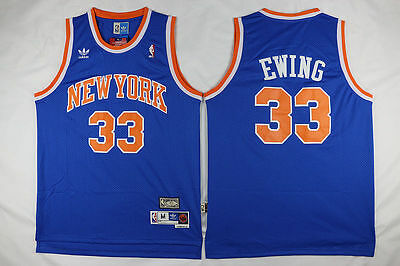 NEW New York Knicks #33 Patrick Ewing Retro Swingman Basketball Blue Jersey