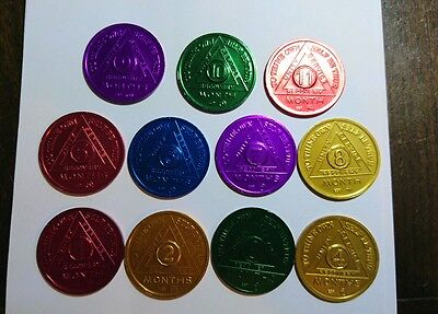 AA Alcoholics Anonymous Bronze Sobriety Coins x 11 Coloured Metal Serenity