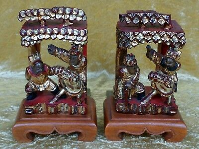 Pair of Chinese carved wood bookends.19th century temple carvings-1920's mounts.
