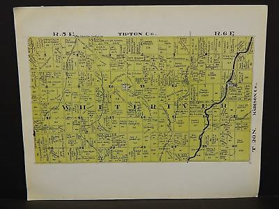 Indiana Tipton County Map White River Township 1928 Y14#20