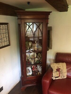 Tall, Antique Mahogany Display Cabinet - TWO AVAILABLE