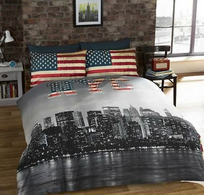 Rapport NYC New York Skyline Bedding American Flag Reversible Duvet Cover